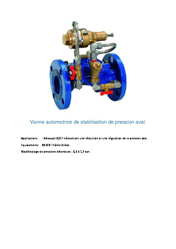 Image du document pdf : Vanne automotrice de stabilisation de pression aval.