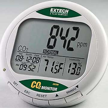 d tecteur mesureur de dioxyde de carbone co200 extech franceenvironnement. Black Bedroom Furniture Sets. Home Design Ideas