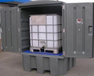 BRP1C EXT1000 - Abri de stockage PEHD avec portes et bac de rétention - pour 1 cubitainer 1000 L