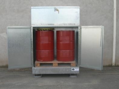 BRAG 2FCP - Abri de stockage acier avec bac de rétention stockage 2 fûts rétention 220 litres