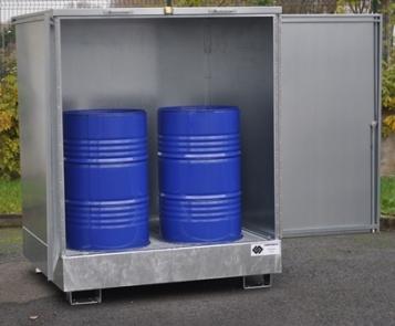 BRAG 4FCP - Abri de stockage acier avec bac de rétention stockage 4 fûts rétention 440 litres