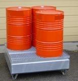 BRAG 4FC - Bac de rétention avec caillebotis amovible en acier galvanisé - 220 Litres