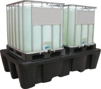 Bac de rétention et caillebotis polyéthylène - stockage 2 cubitainers rétention 1100 litres - BRPN 2C