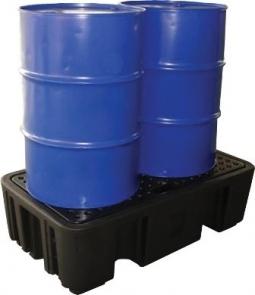 BRPN 2F  - Bac de rétention avec caillebotis pour stockage 2 fûts debout - Rétention totale : 240 L