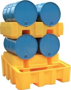 BRPN 2FC - Bac de rétention pour stockage 2 fûts couchés - Rétention totale : 450 L